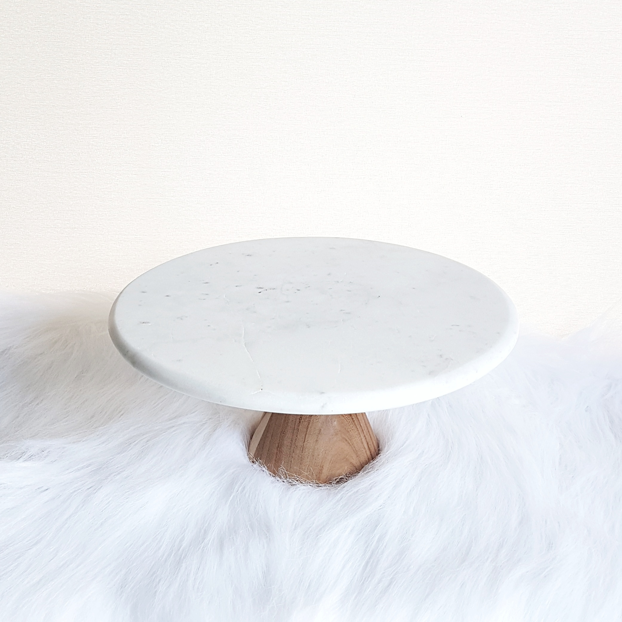 "Marble & Wood Cake Stand 10"" - 2 available  $10"
