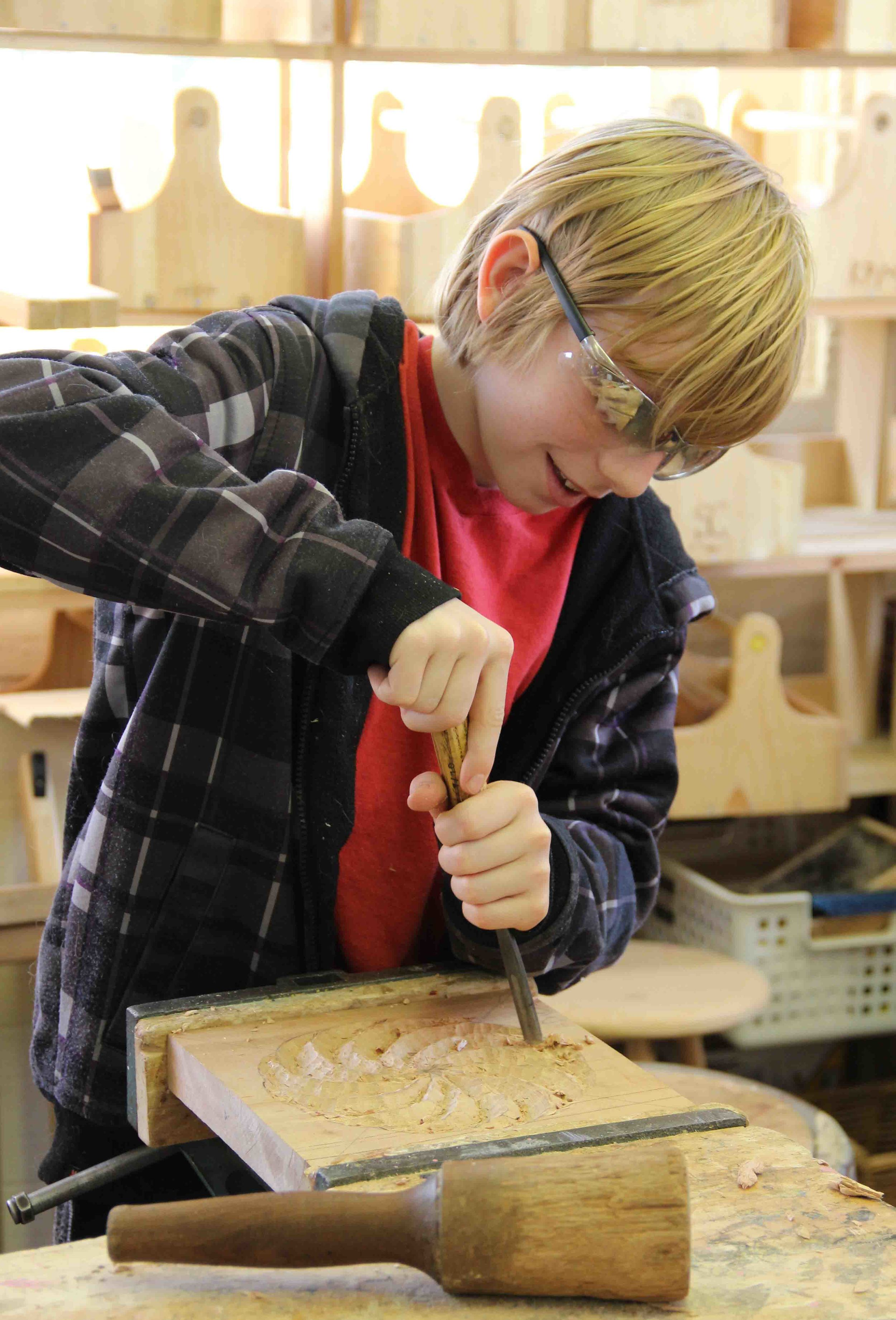 Woodworking begins in fifth grade and continues through eighth.