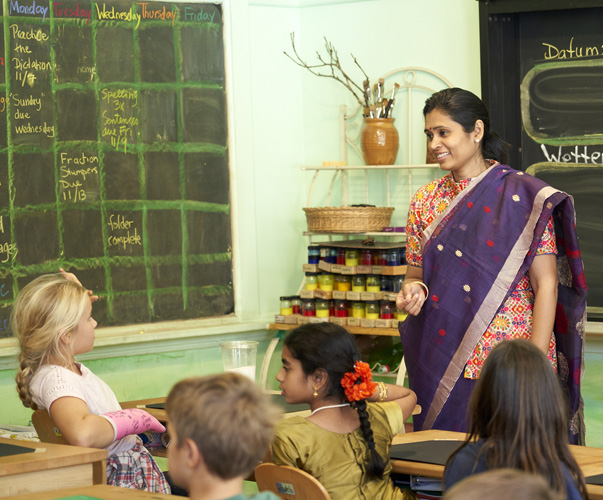 WSL parent Dee Bireddy tells 4th graders the story of Lord Rama and the festival of Diwali.