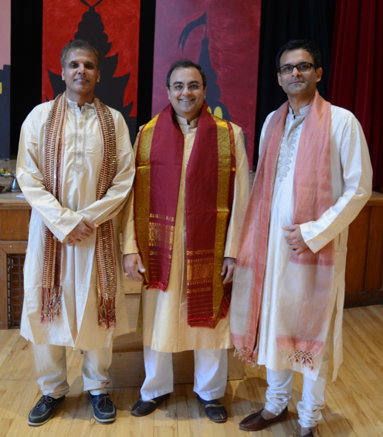 L-R: Harry, Samarjit, and Shivalik in traditional Indian clothes