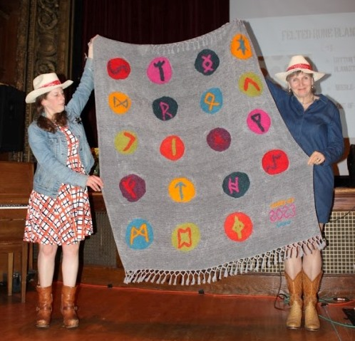 Felted rune blanket created and donated by the 4th grade for this year's Live Auction.