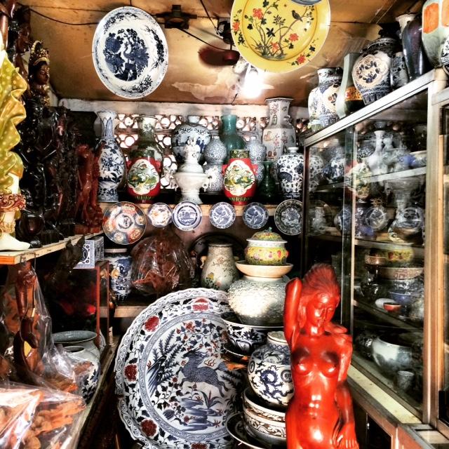 Ceramic antiques on display in a shop inside Jalan Surabaya