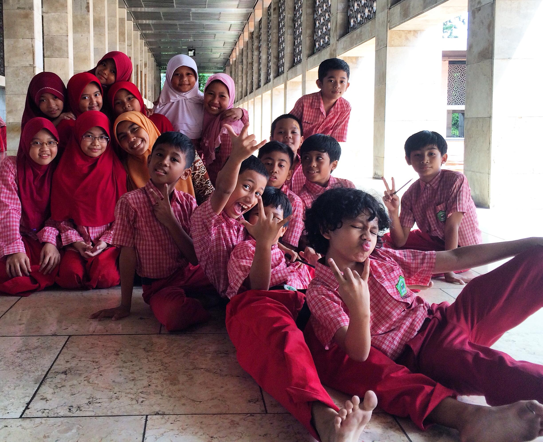 Islamic studies students posing for me inside Masjid Istiqlal