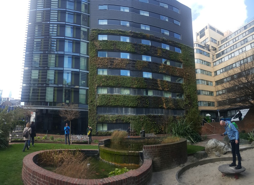 Biotecture - 52 Minories EC3N 1JA. Nice green wall but need gutters under each green layer and some new plants.