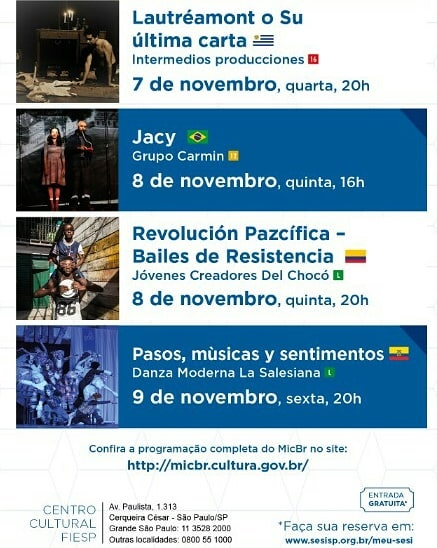 O MINC e o SESI-SP convidaram o Carmin para representar o Brasil dentro da programação do MICBR2018 (Mercado das Indústrias Criativas do Brasil 2018) serão espetáculos de vários países da América Latina e nós estaremos lá com nossa peça Jacy.  Será dia 08/11 no SESI Av.Paulista - 16h. 🤗🇧🇷🤗 Entrada Gratuita  #sesisp #minc #micbr #teatroamericalatina  #teatrobrasil #teatrosulamericano #americadosul