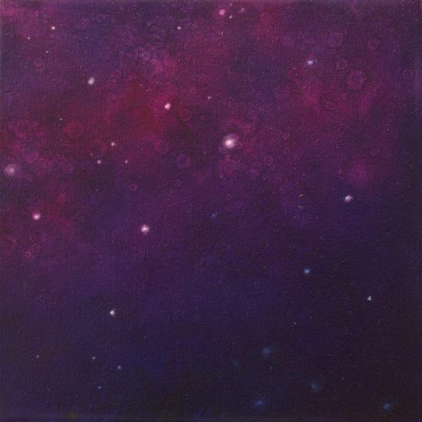 Brooke Wayne,  Nebulous Exploration I , oil on canvas, 12 x 12 inches