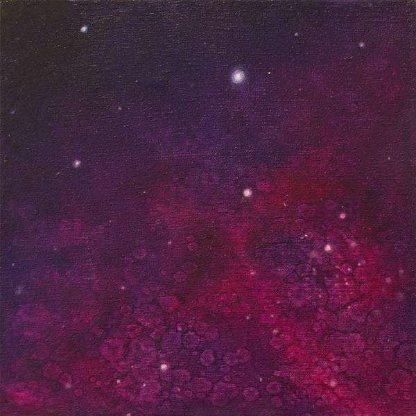 Brooke Wayne,  Nebulous Exploration II,  oil on canvas, 12 x 12 inches