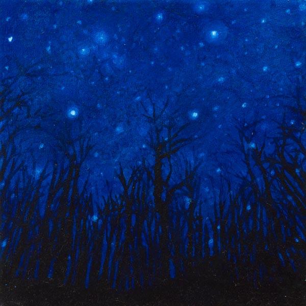 Brooke Wayne,  Night Sky,  oil on canvas, 12 x 12 inches, 2014