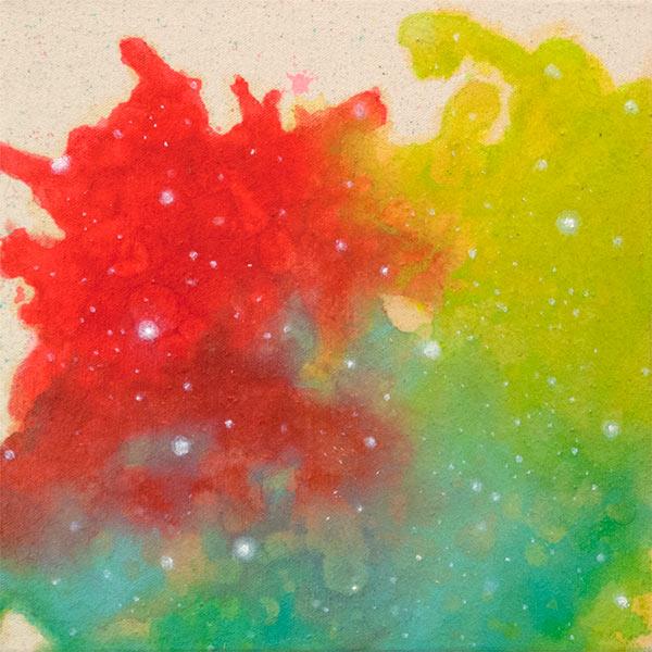 Deanna McCaw and Brooke Wayne,  Nebula II , acrylic and oil on canvas, 12 x 12 inches, 2015