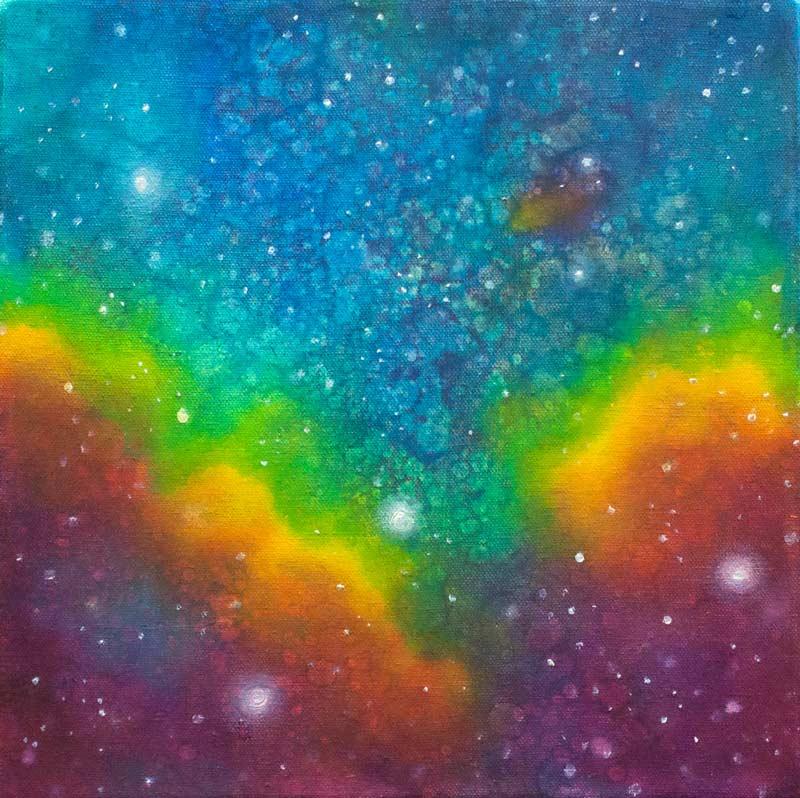 Brooke Wayne,  Nebulous Exploration XIV , oil on canvas, 12 x 12 inches