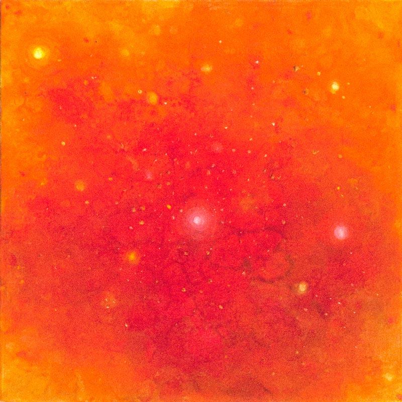 Brooke Wayne,  Nebulous Exploration II (Gold),  oil on canvas, 12 x 12 inches.