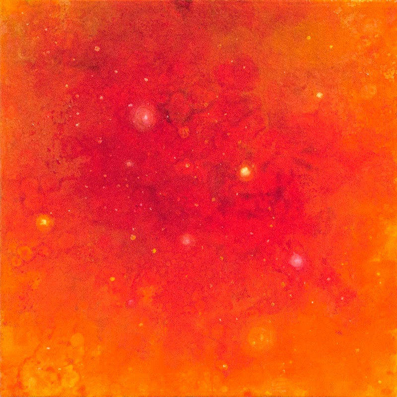 Brooke Wayne,  Nebulous Exploration III (Gold),  oil on canvas, 12 x 12 inches.