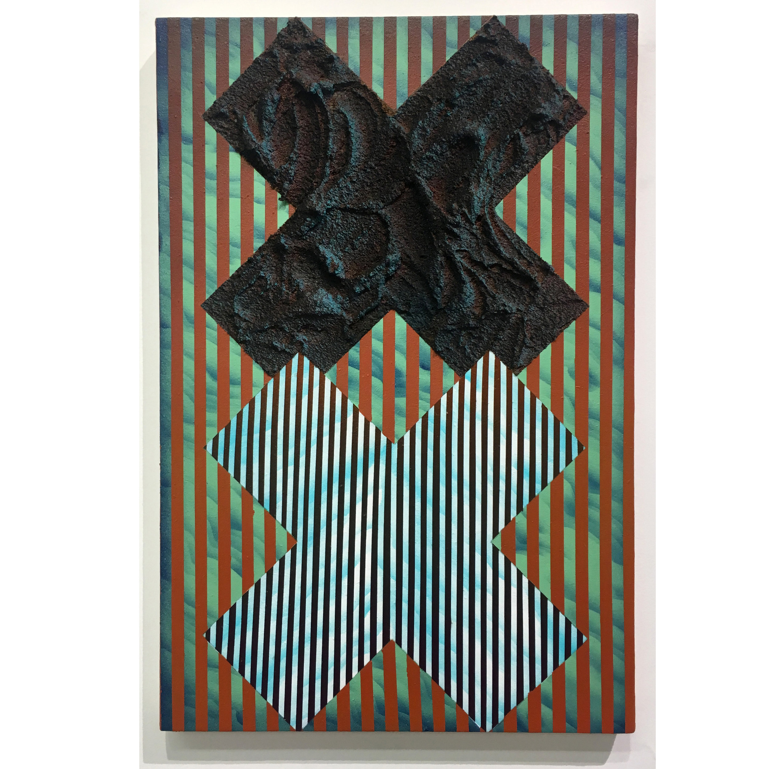 Untitled , 2018, acrylic and pumice gel on canvas, 15 x 10 inches.