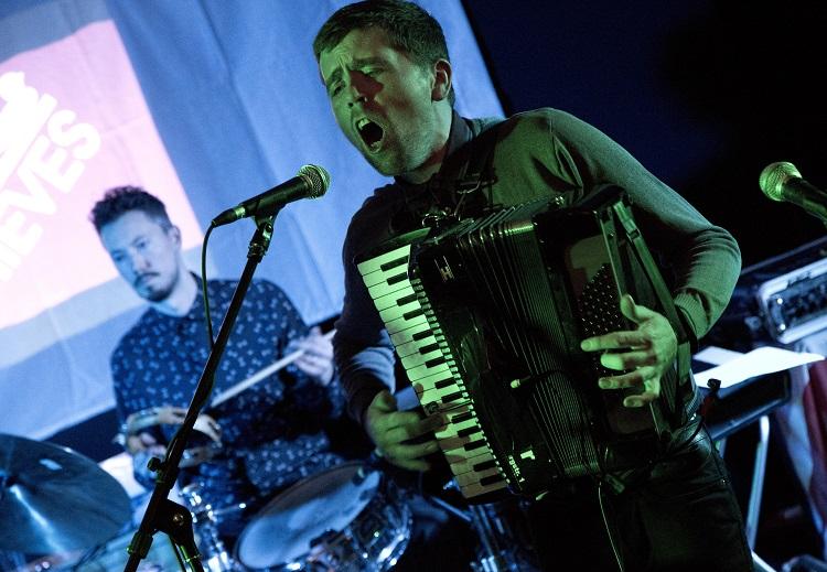 Matt Campbell (accordion) and Euan Rodger (drums) of Delightful Young Mothers