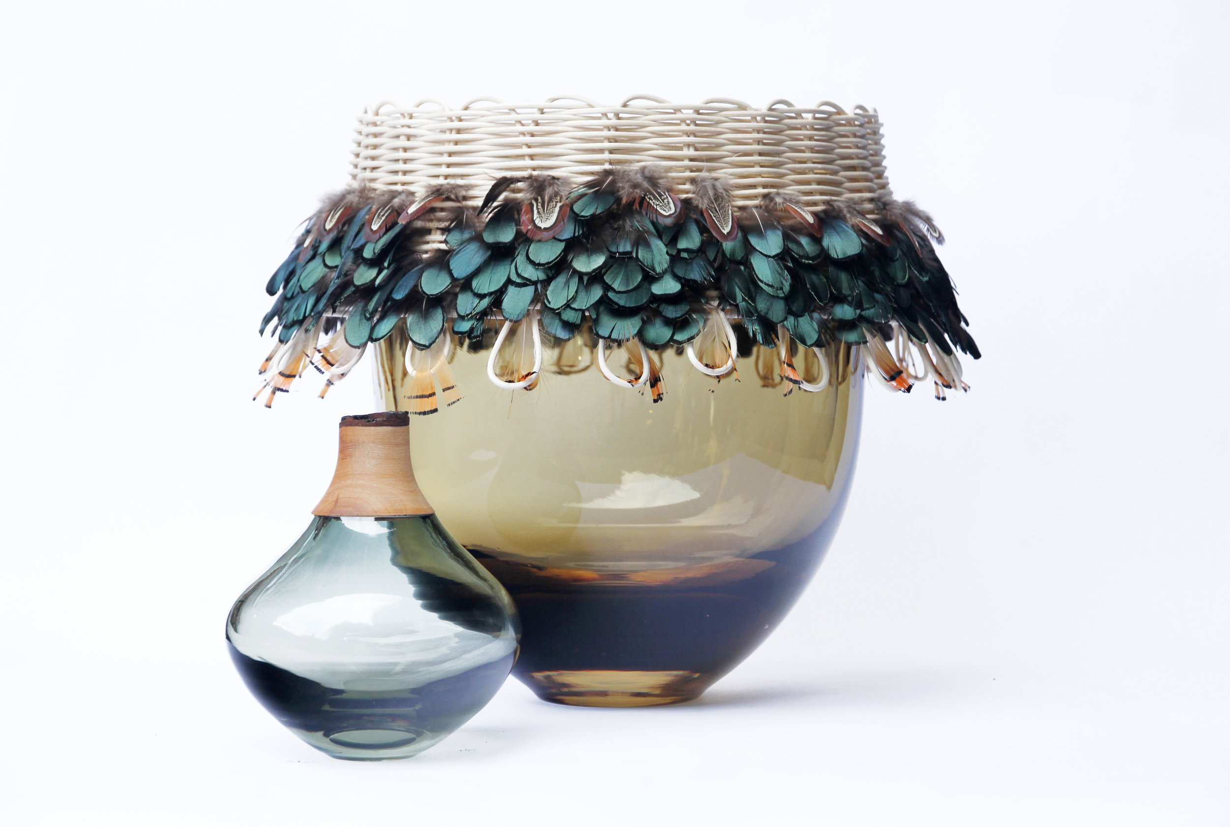 Feather vase tribe utopia feathers glass