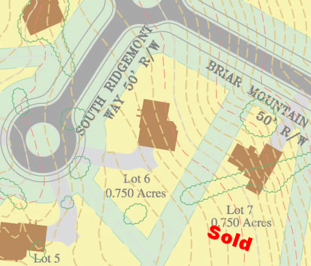Lot #6 will be the showcase for the community because of its elevation and location in North Hills. Lot 7 is a thin but deep lot off Briar Mountain Drive and will have a beautiful view of the 1 acre pond down the hill.