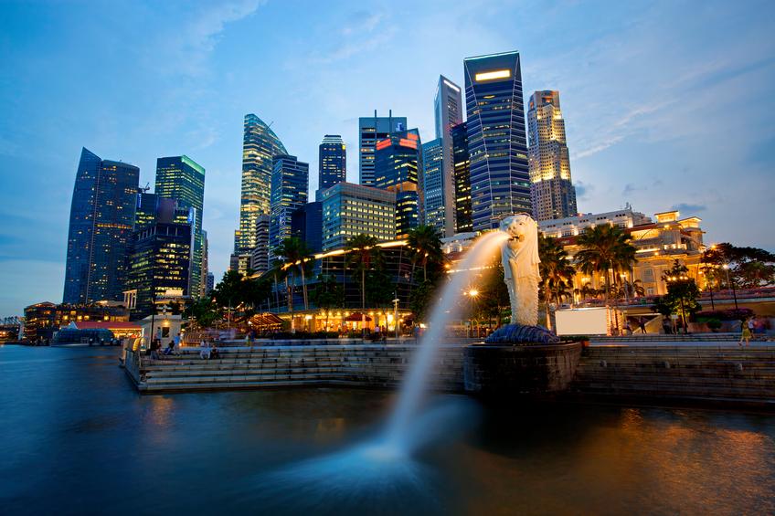 Singapore skyline view with fountain