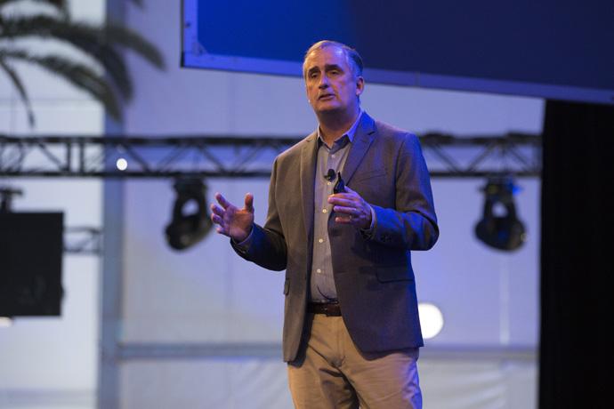 Brian Krzanich, Intel Corporation CEO, presents a keynote address at the Automobility LA conference. (photo credit: intel corporation)