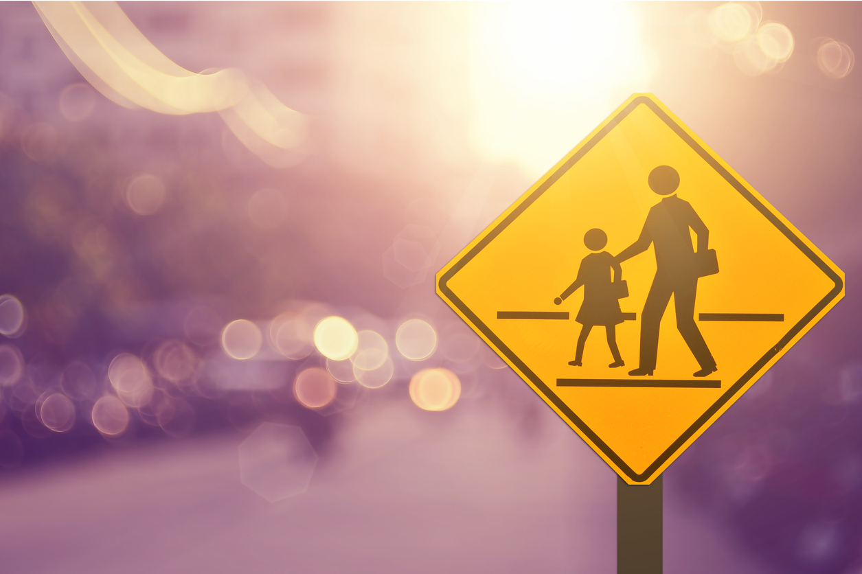 A yellow school crossing sign with blurred road background