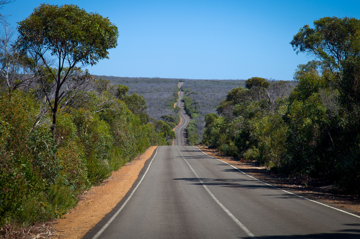 Empty road stretching into the distance in australia