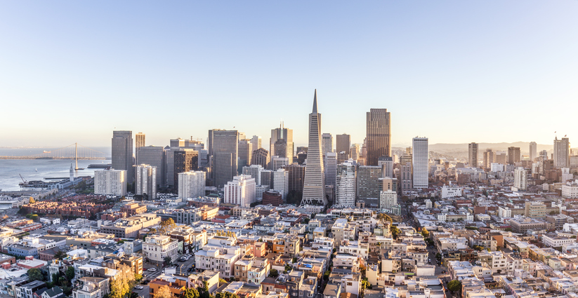 View of san francisco cityscape and skyline on sunny day