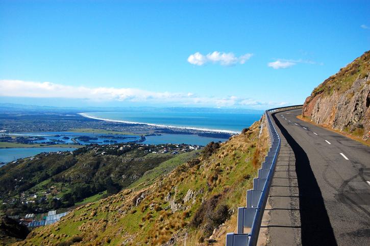 Summit road near Christchurch, New Zealand
