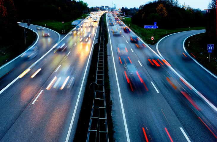 Cars driving with high speed on German Autobahn