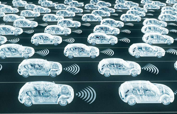 Self-driving electronic computer cars on road