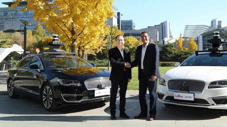 Sherif Marakby, president and CEO of ford autonomous Vehicles LLC and Zhenyu Li, Vice President and General Manager of Baidu's Intelligent Driving Group