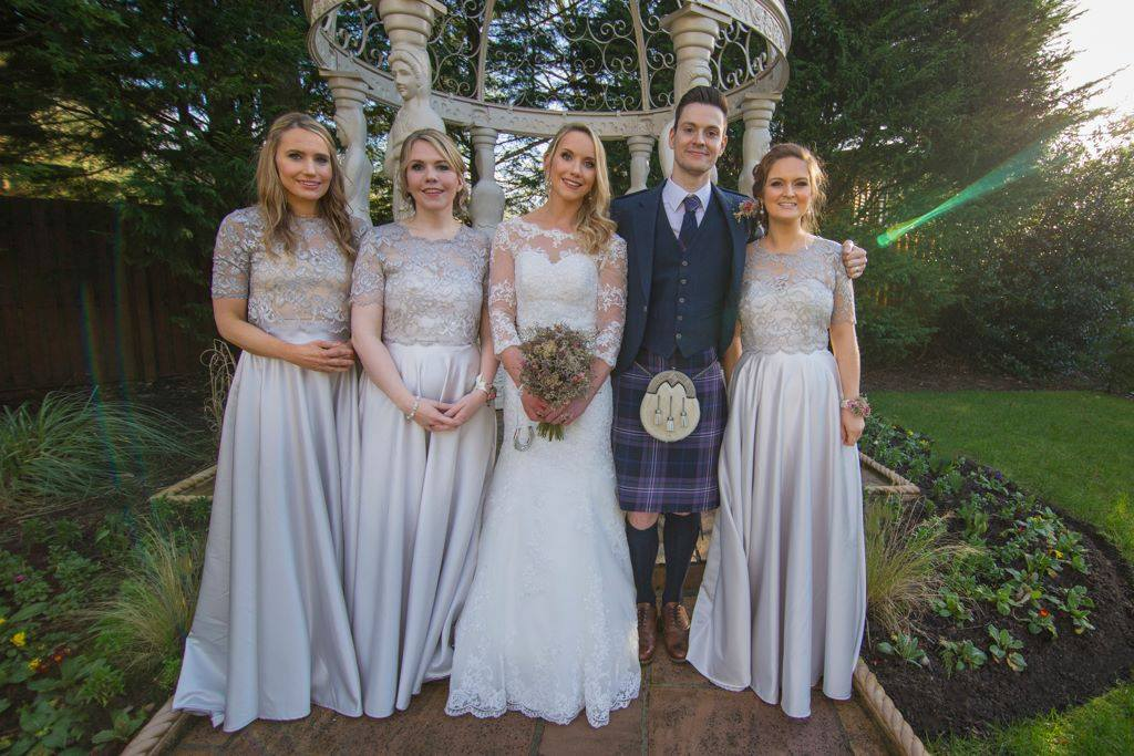 Katie and her maids all went for their own versions. We turned two into a dress and all three wore grey shimmer lace tops we made to match. We have a variety of lace colours to choose from to match your skirt shade.