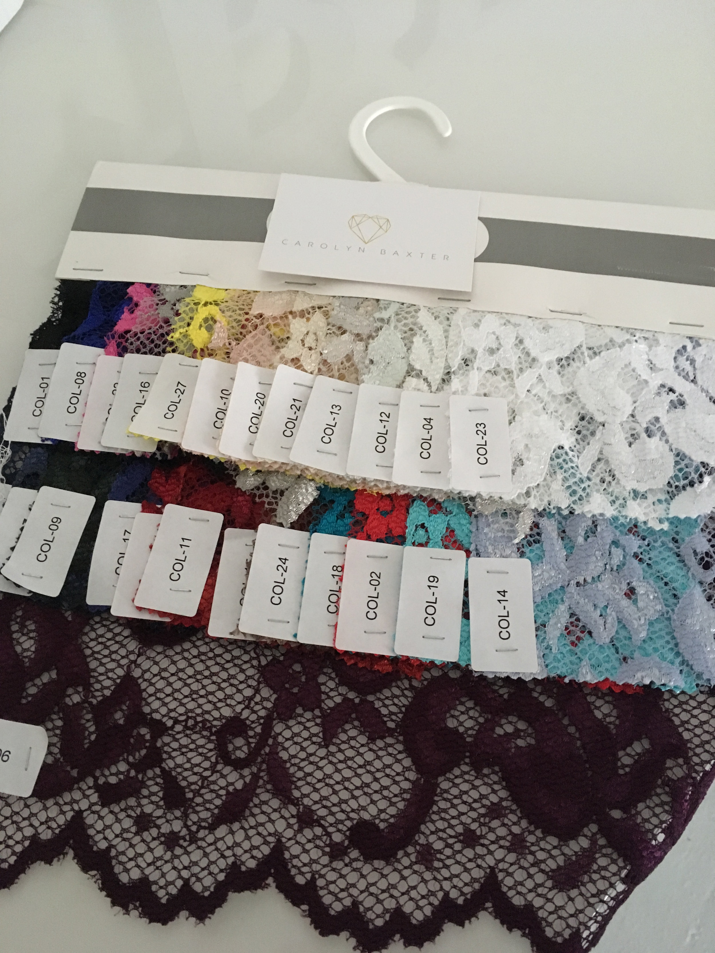 These are some of the lace colour shades we have available to match to your skirt shades.