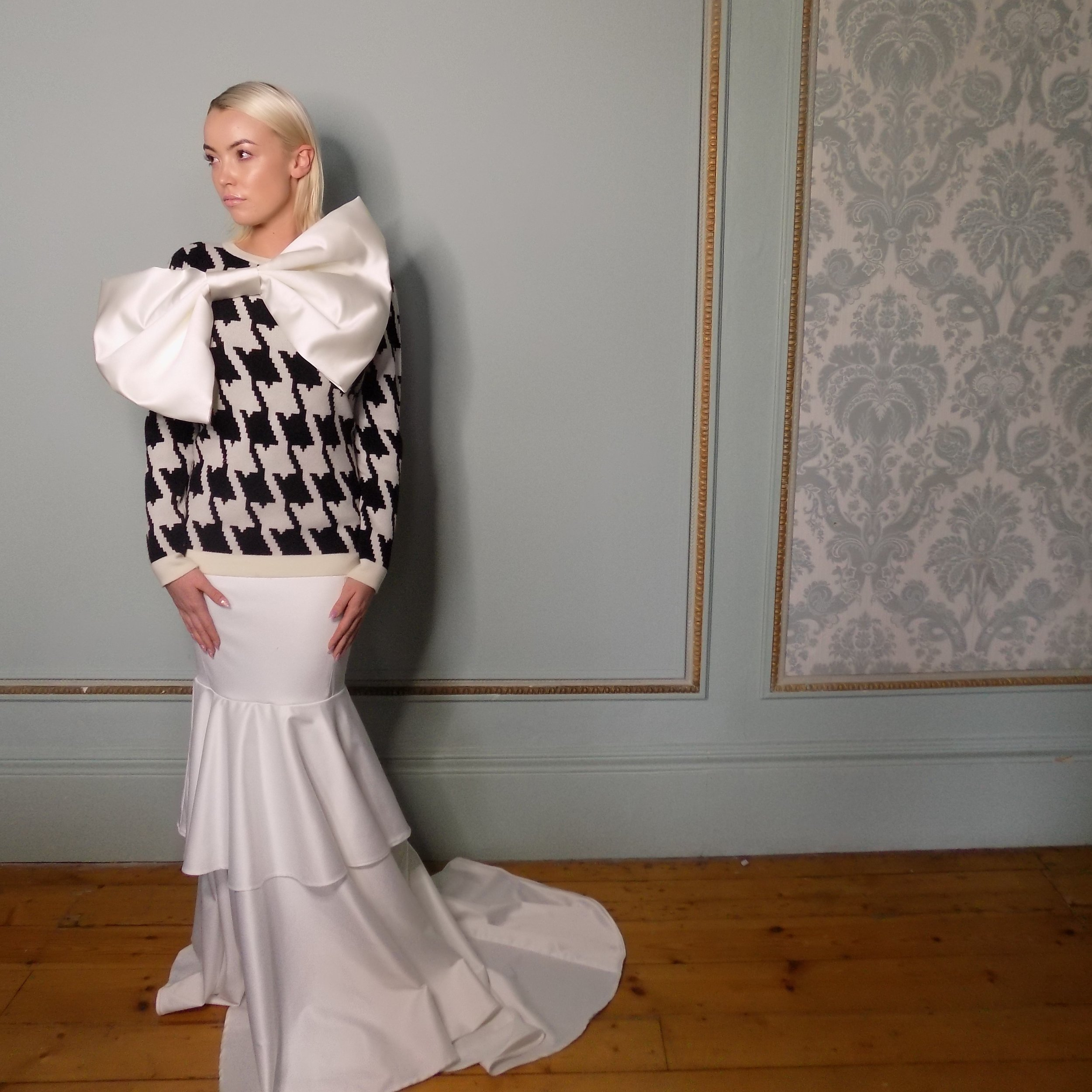 Ariel Wedding Dress £1300 with large bow £40. Cross cashmere Houndstooth £349.