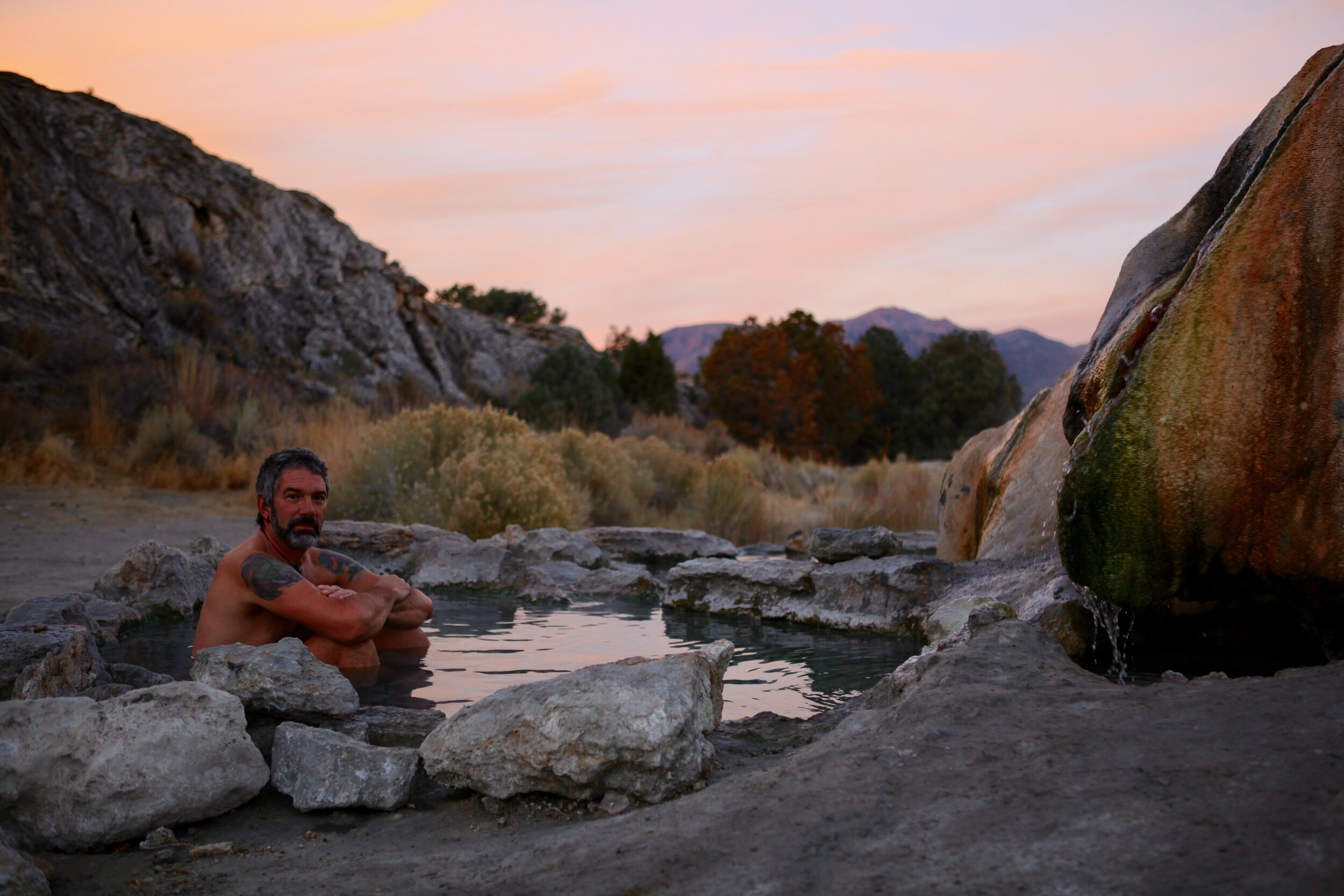 Sunrise at Travertine Hot Springs with my Beloved