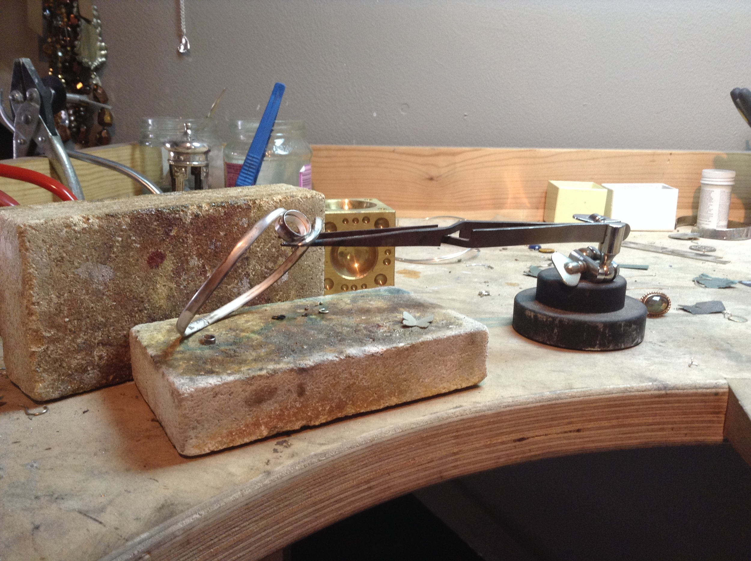 Silver bangle in progress...