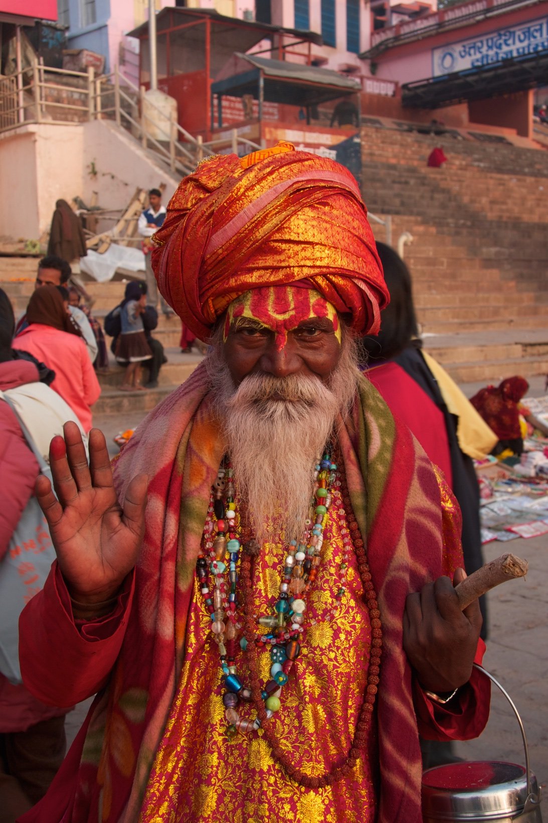 A self-appointed sadhu [wise man] asking for alms. Varanasi, India.