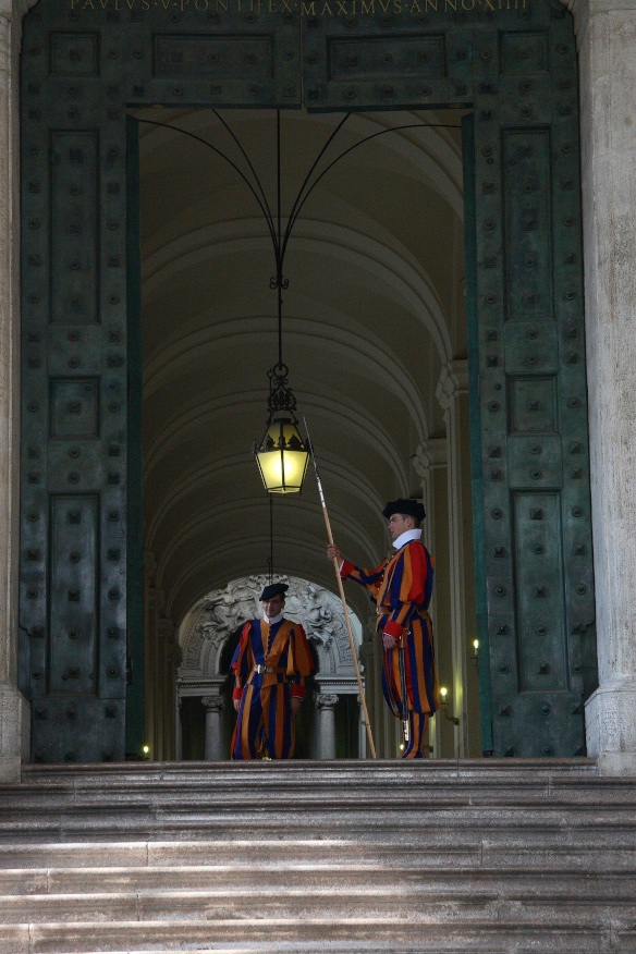 Swiss guards protecting the pope. The Vatican.