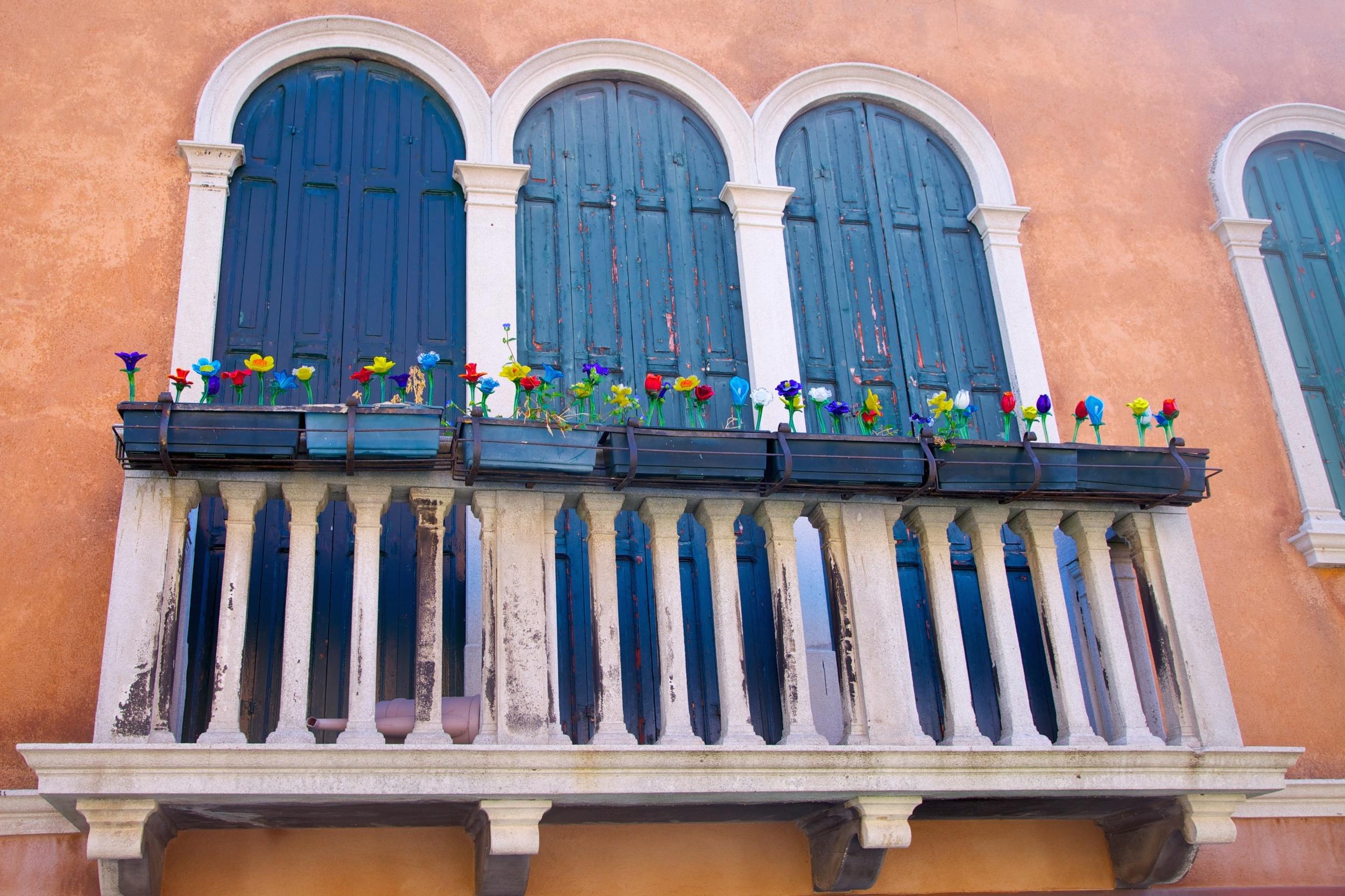 Glass flowers. Murano, Italy.