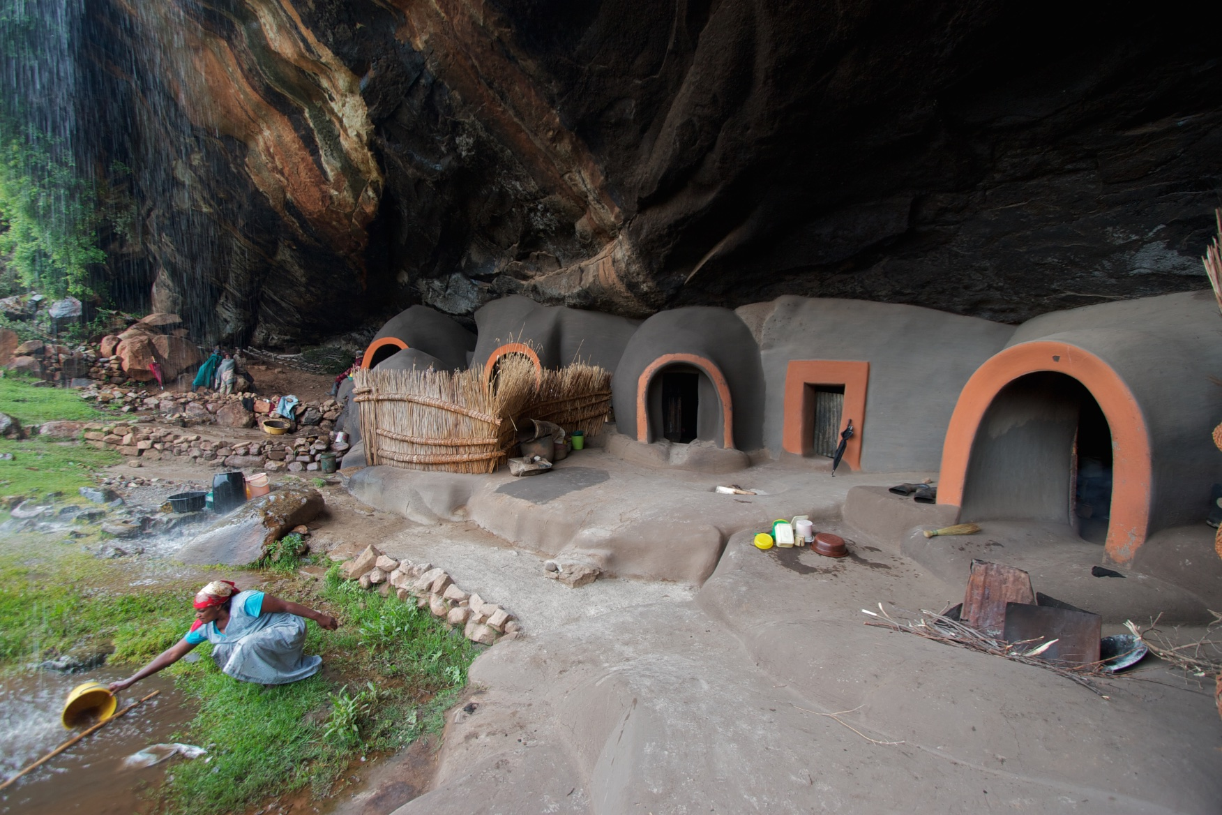 Under the waterfall: the families living beneath a precipice. Lesotho