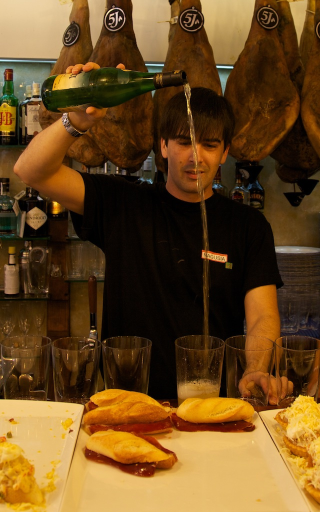 Cider serving expert. San Sebastian, Spain