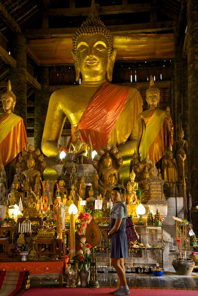 Buddhist temple in Luang Prabang, Laos (interior)