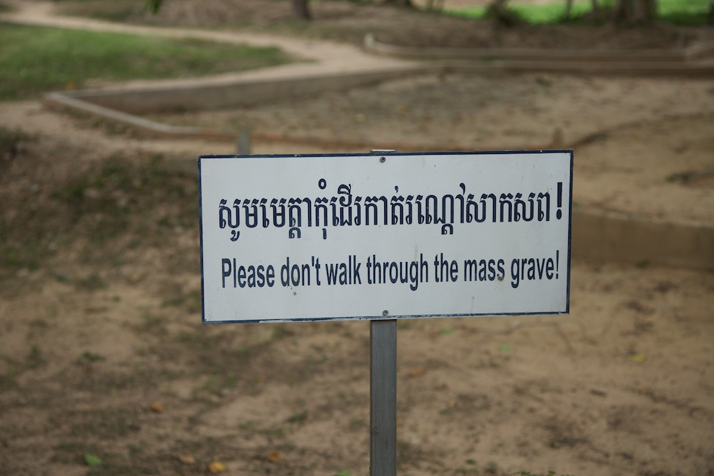 A horrific, yet true and necessary admonishment next to the Killing Fields, Cambodia.