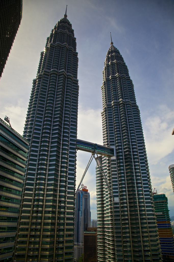 The Twin Towers in Kuala Lumpur, Malaysia, not long ago the highest structure on earth.