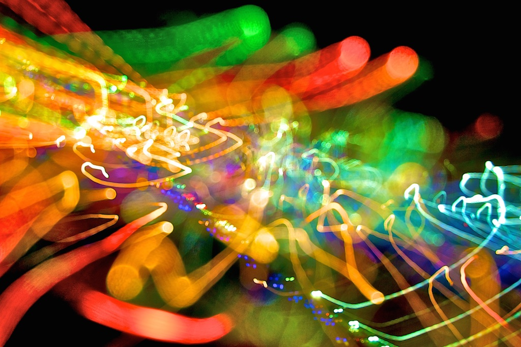 Chromaesthesia fireworks provoked by an orchestra's crescendo.