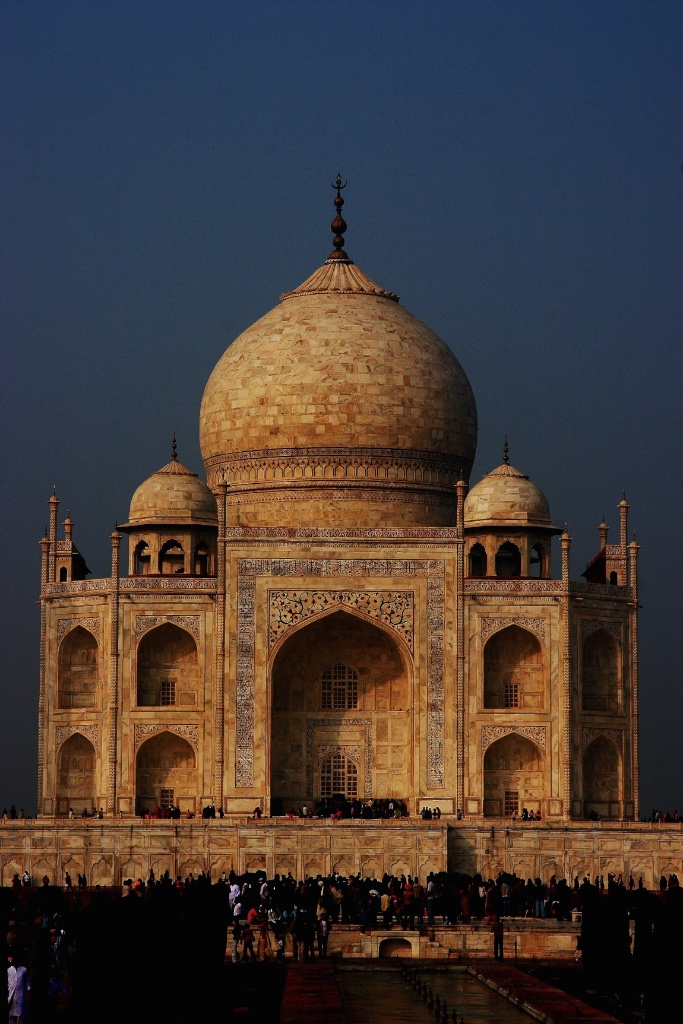 The Taj Mahal mausoleum in Agra, India.