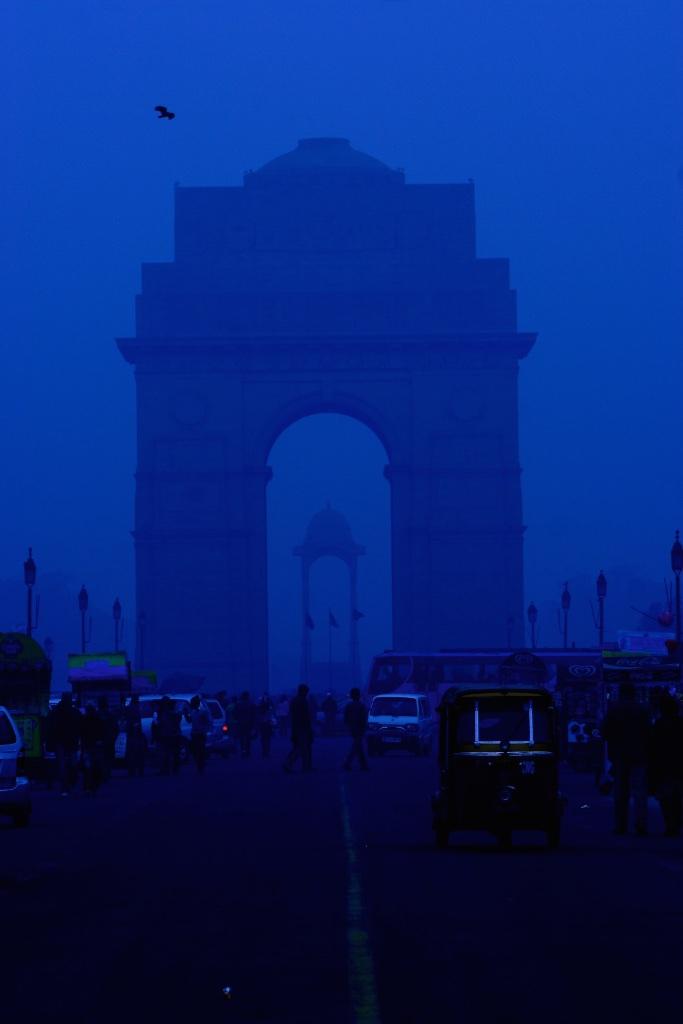 India Gate at dusk, New Delhi, India.