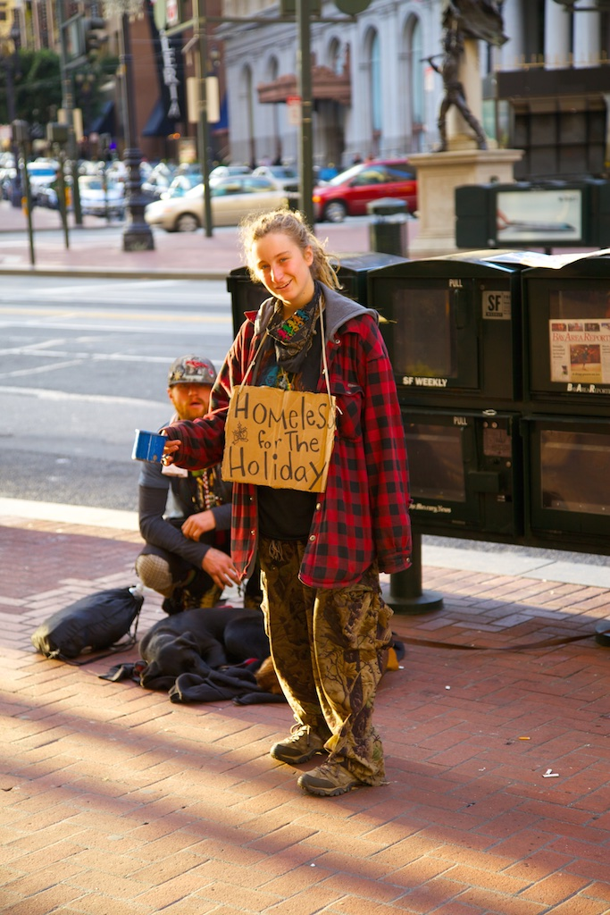 Homeless but cheerful. San Francisco, USA.