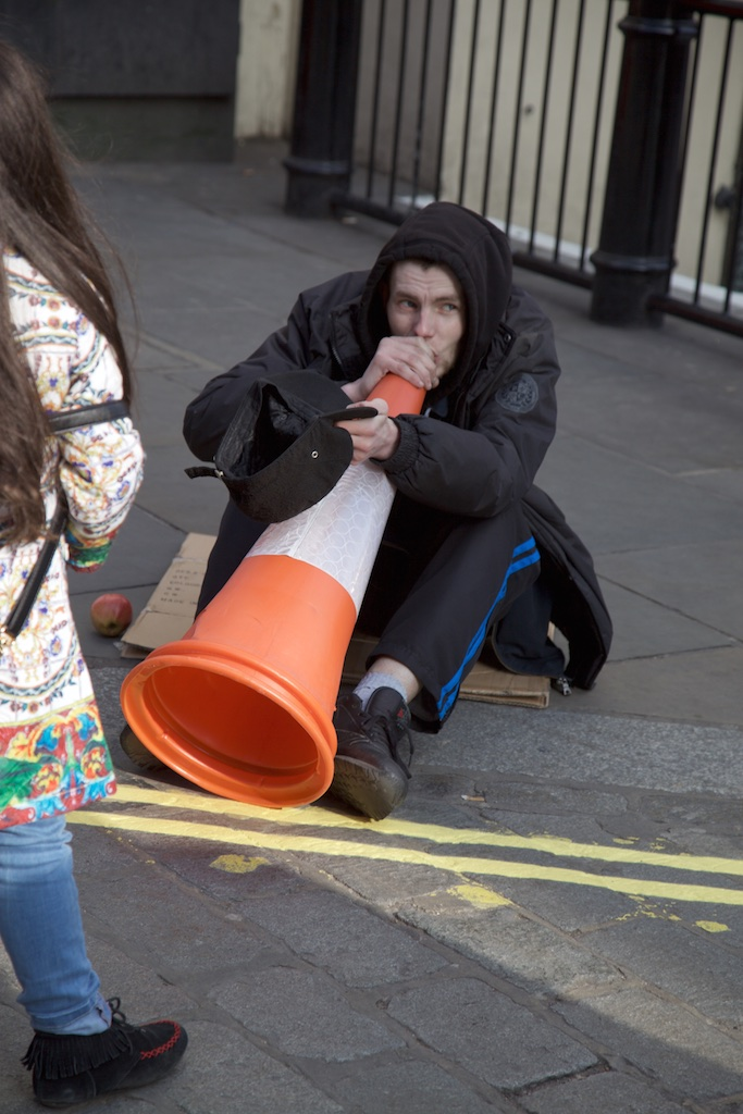 Improvisation on a plastic trumpet.
