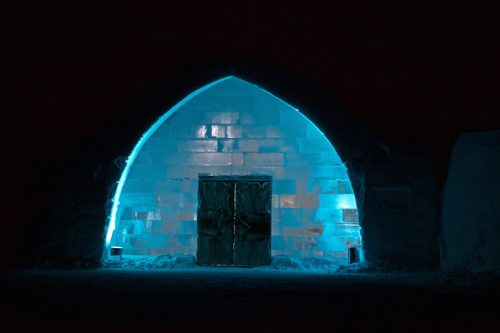 The entrance to the Ice Hotel, Jukkasjärvi, Sweden.