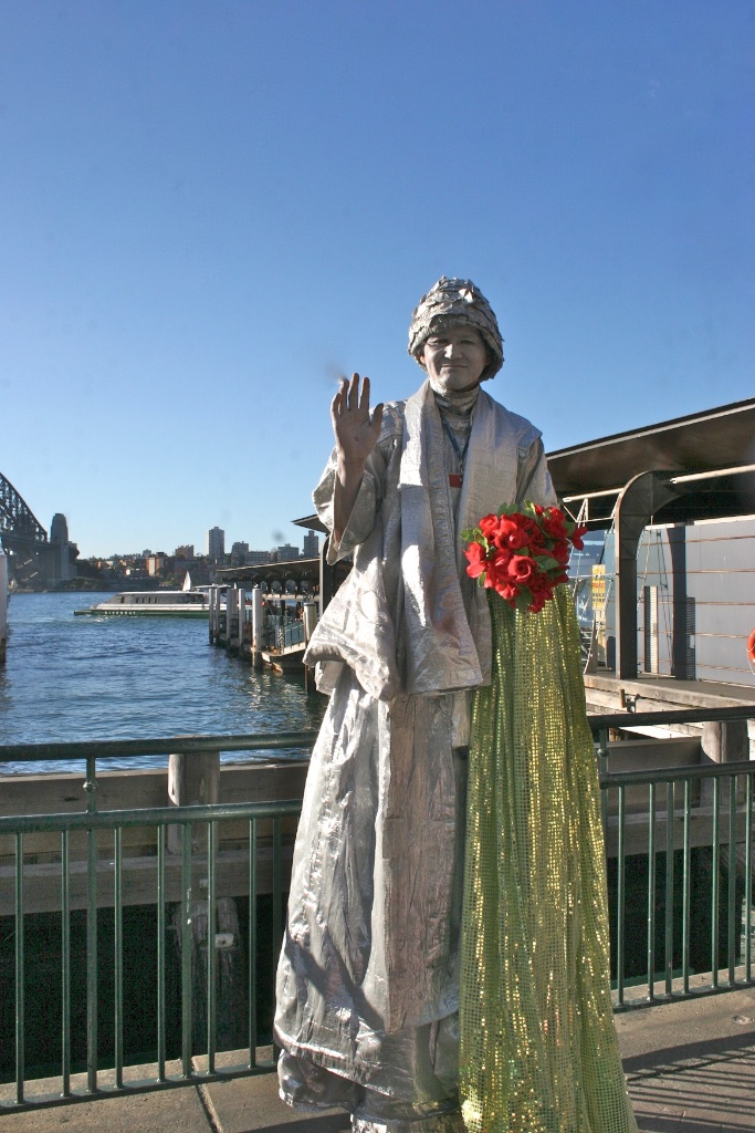 The silver statue look in Sydney, Australia.
