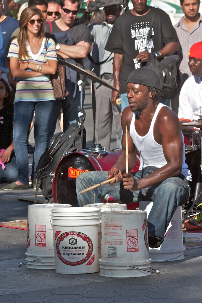Jaw-dropping play with an improvised drum set.